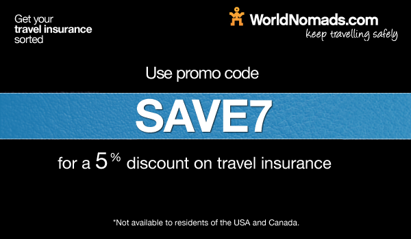 Promo code SAVE7 for WorldNomads